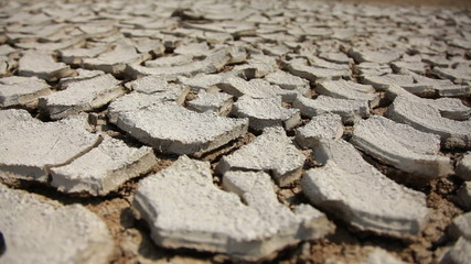Dry And Cracked Soil, Close Up.