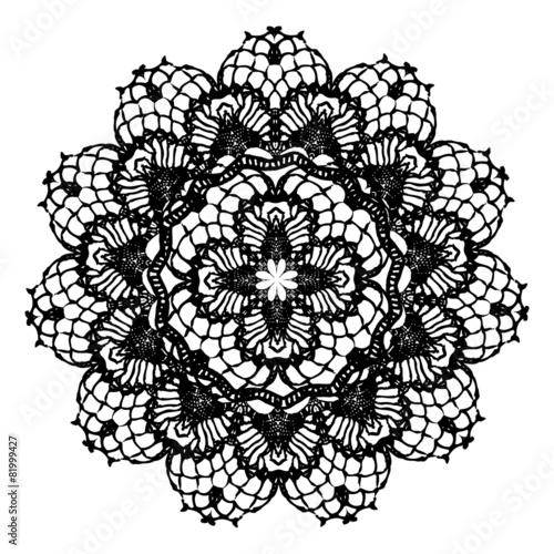 Black crochet doily. - 81999427