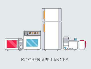 Flat modern kitchen appliances background concept