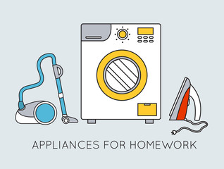Flat household appliances background concept