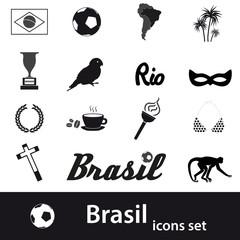 black brazil icons and symbols set eps10