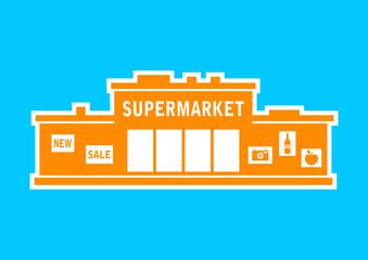 Orange supermarket icon on blue background