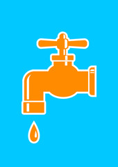 Orange faucet icon on blue background