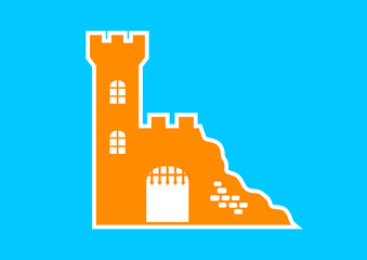 Orange castle icon on blue background