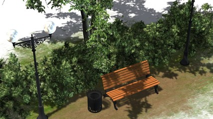 Park Bench with Street lantern bushes and a tree