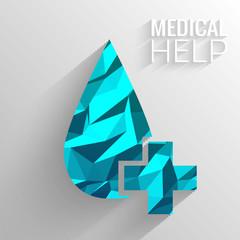 Polygonal medical blue cross vector background