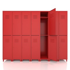 red empty lockers isolate on white background