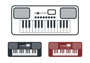Synthesizer Icons Set, Vector Illustration