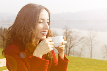 Enjoying coffee outdoors