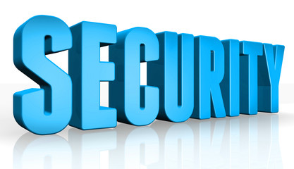 3D security text on white background