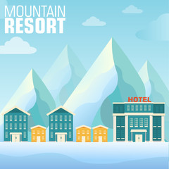 flat resort mountain concept backgrounds