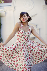 Retro woman with beautiful dress