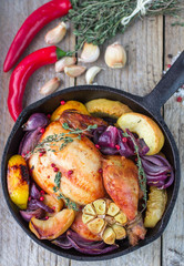 baked chicken with red onion