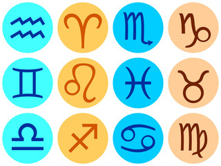 Set of icons with signs of the zodiac.