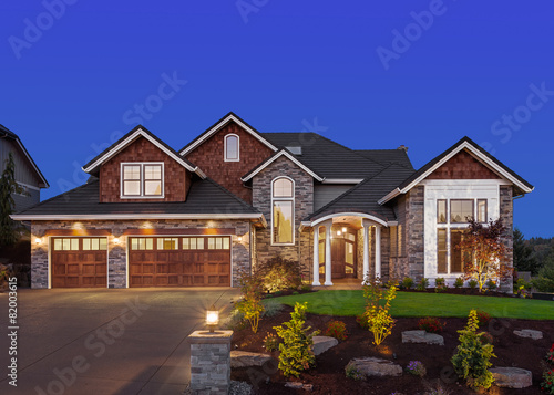 Beautiful Home Exterior at Night  - 82003615