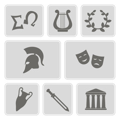 set of monochrome icons with greece symbols for your design