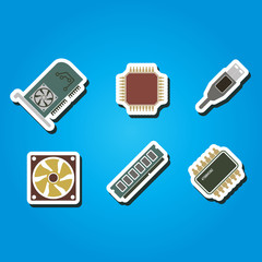 set of color icons with computer hardware and components