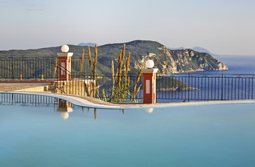 Pool in Lakones. Corfu  island. Greece