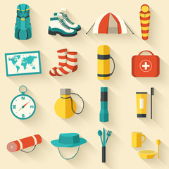 Flat sticker colorful vector tourist equipment icons