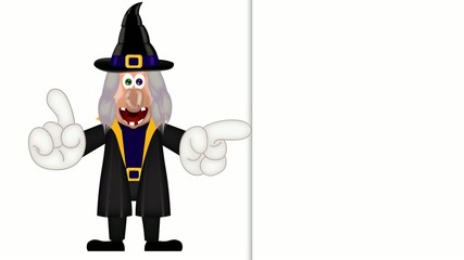 Funny cartoon witch magic show halloween