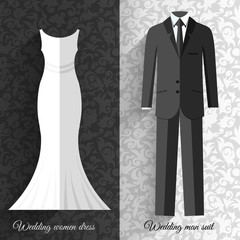 wedding beautiful suits clothing ornamental style card icon set