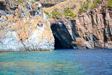 Panorama of the Aeolian islands seen from the sea