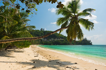 Tropical beach at Mahe island Seychelles