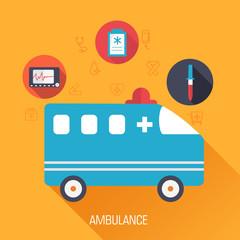 flat medical ambulance icons illustration infographic concept
