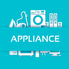 Flat modern kitchen appliances set icons concept. Vector