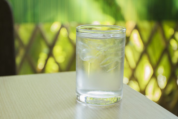 glass of water on wood table