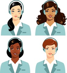 Different ethnic women operator of call center online support