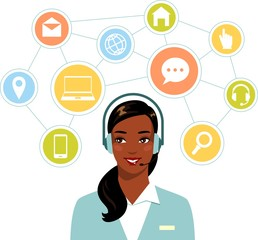 Call center online support african american woman operator