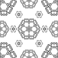 Vector Seamless White and Black  traditional Floral pattern