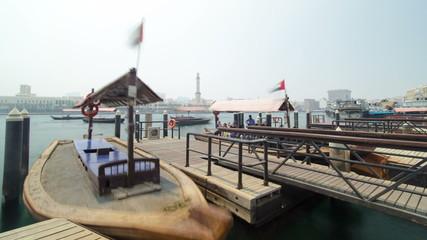 Boats at Port Saeed along Deira's shore of Dubai Creek, UAE
