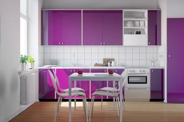 Kleine Küche mit lila Küchenzeile