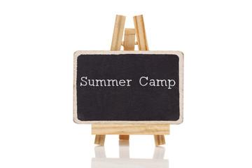 Summer Camp drawn with chalk on blackboard
