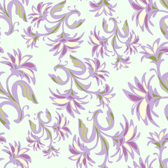 Ornate seamless pattern with abstract flowers.