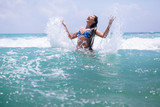 happy girl sea waves splash