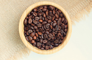 coffee beans wooden bowl burlap tablecloth
