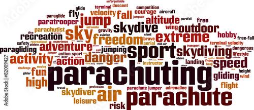 Fototapeta Parachuting word cloud concept. Vector illustration