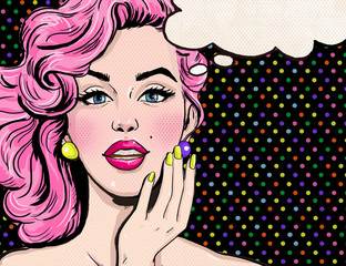 Pop Art illustration of girl with the speech bubble.
