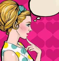 Pop Art  blond girl in profile with the speech bubble.