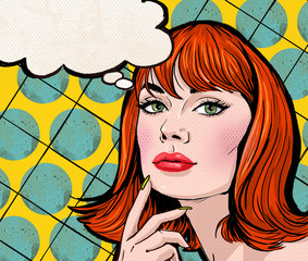 Pop Art girl with the speech bubble.