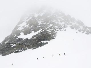 Alpine skiers in Silvretta Gruppe