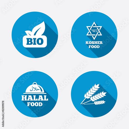 Natural Bio food icons. Halal and Kosher signs. - 82009878