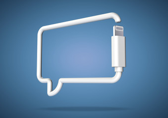 Computer cable makes internet smart phone chat icon