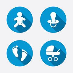Baby infants icons. Buggy and dummy symbols.