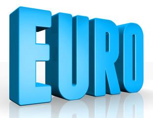 3D euro text on white background