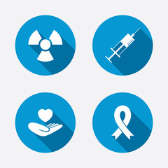 Medicine icons. Syringe, life, radiation.