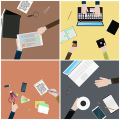 Set of simple flat illustrations as desktop wallpaper .